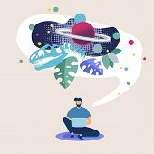 Advertising Poster Space Exploration Online Flat. Conceptual Idea Place Man In Universe. Man Sits On poster
