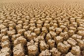 The Concept Of Natural Drought Of The Environment On Earth: Dry Soil, Cracked Soil With Soil Erosion poster