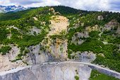 Amazing View Of The Landslide On A Mountain Road. The Road From Mestia To Zugdidi Was Blocked By An  poster