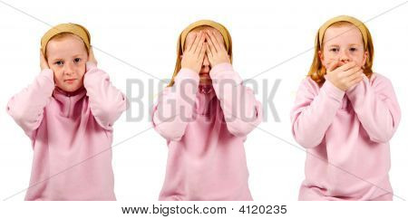 Hear No Evil, See No Evil, Speak No Evil , Girl Isolated On White Background