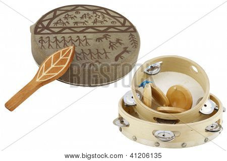 The image of shaman tambourine under the white background