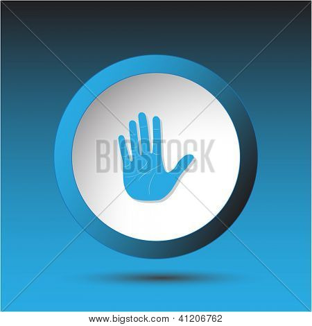 Stop hand. Plastic button. Vector illustration.