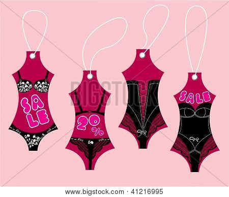 Set Of Underwear Collection For Women - Sexy Vintage Lingerie - Sale Labels