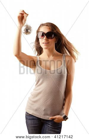 Girl with disco ball , isolated on white background