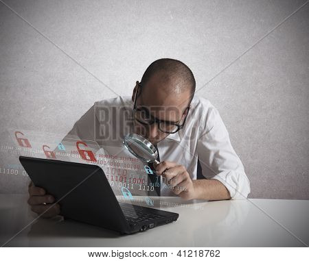 Hacker Analyzing Software