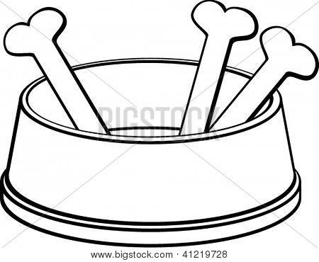 dog bowl with bones