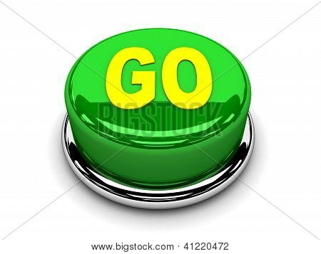 3D verde botón ir Inicio empuje de energía