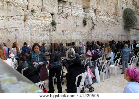 Jewish Worshipers (women) Pray At The Wailing Wall An Important Jew