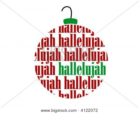 Hallelujah Text Word Christmas Vector Ornament Ball