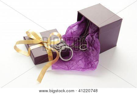 Purple Gift Box With Jewelry