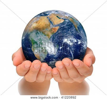 Hands of woman holding globe, Africa and Near East