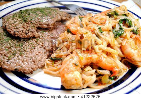 Meal of Cube Steaks and Rice Noodles and Shrimp