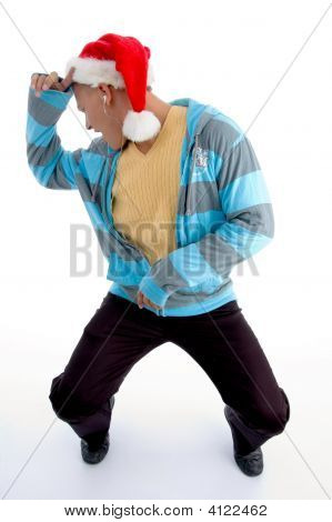 Dancing Male With Christmas Hat