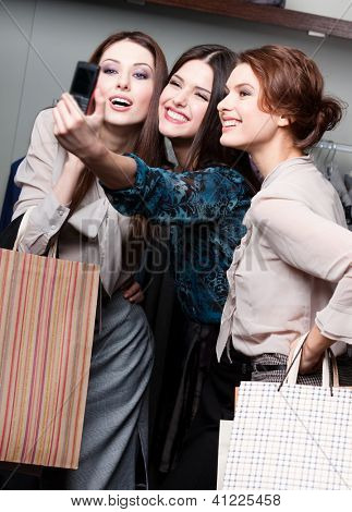 Girls photo session after shopping