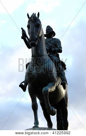 Statue of the KIng Philip of Spain at the Plaza Mayor, Madrid