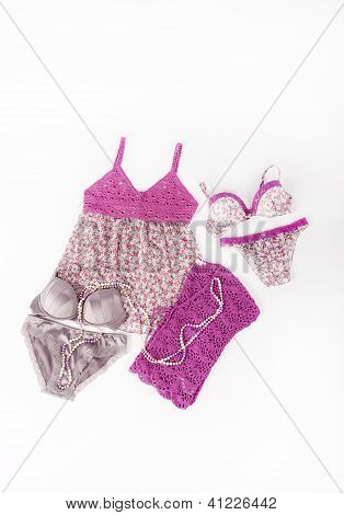 Sexy Pink Flower Set Of Lingerie