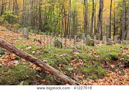 primitive cemetery graveyard in smoky mountains