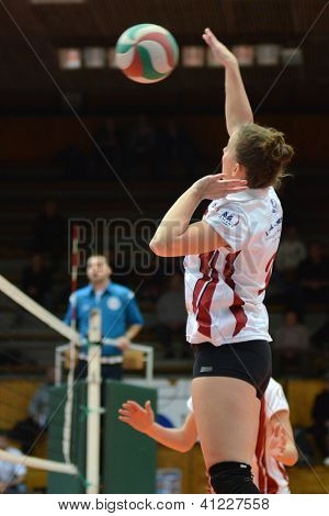KAPOSVAR, HUNGARY - JANUARY 13: Zsanett Pinter in action at the Hungarian I. League volleyball game Kaposvar (white) vs Budapest SE (white), January 13, 2013 in Kaposvar, Hungary.