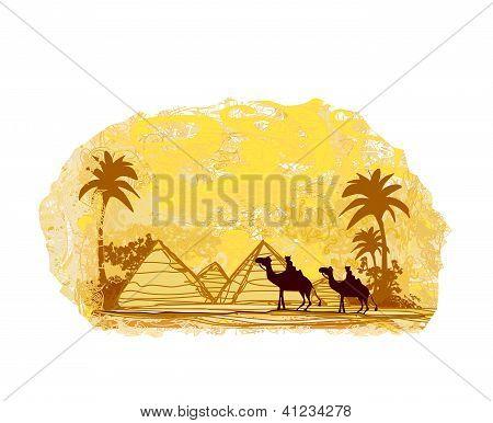 Bedouin Camel Caravan In Wild Africa Landscape Illustration