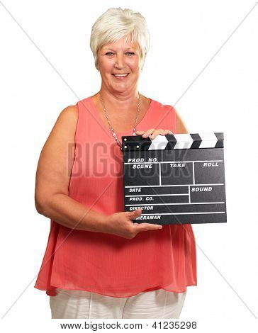 Senior Woman Holding Clapper Isolated On white Background
