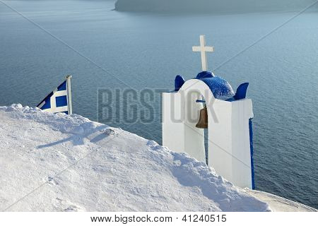 Belltower and greek flag
