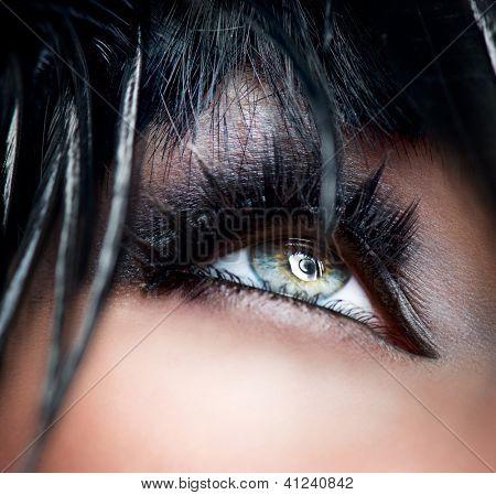 Eye Makeup. Smoky Eyes. Smokey Eyes Make-up close-up. Black Eyeshadow