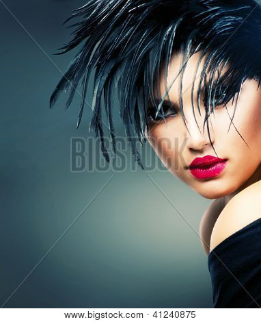 Fashion Art Girl Portrait. Punk Style Model. Vogue Style. Glamour Woman