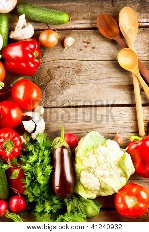 Healthy Organic Vegetables on a Wooden Background. Art Frame Design
