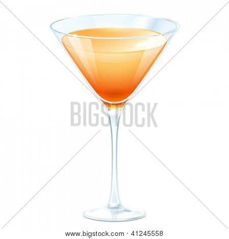 Cóctel de naranja en un vaso de martini sobre un fondo blanco. Copia de la trama del archivo de vector
