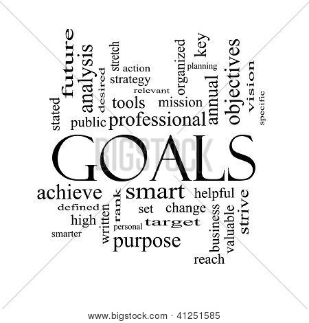 Goals Word Cloud Concept In Black And White
