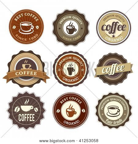 Nine Coffee Badges For Web Or Print