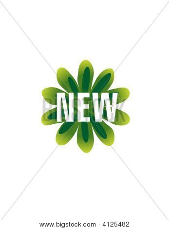 Green Retro Flower New Vector Button Icon Symbol