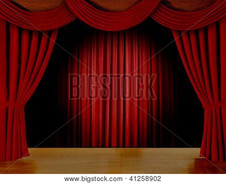 Red curtain on stage