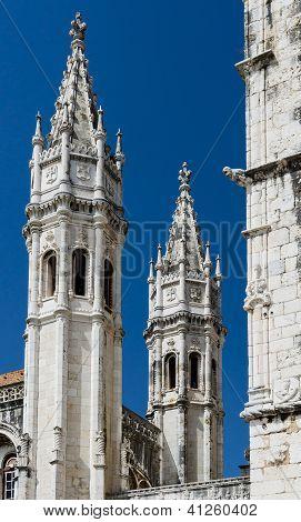 Jeronimos Monastery Towers Detail, Lisbon, Portugal