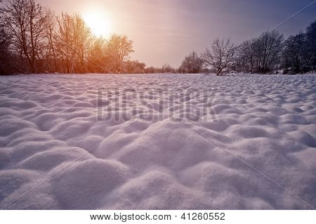 snowy hillock in morning field