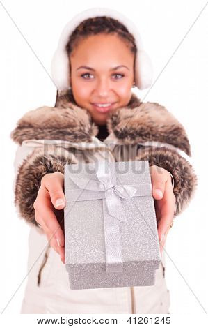 Beautiful Woman With A Gift Isolated Background