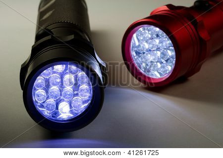 Two LED Flashlights - Turned On