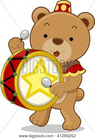 Cartoon illustration of a circus bear as a drummer