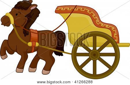 Illustration of a Horse-Drawn ancient chariot