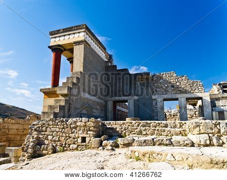 View from the back side of northern entrance to Knossos palace