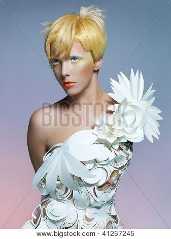 Fashion photo of beautiful lady in white dress