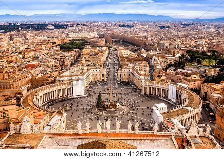 Rome, Italy. Famous Saint Peter's Square In Vatican And Aerial View Of The City.