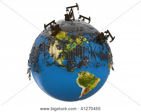 Pump Jacks And Oil Spill Over Planet Earth