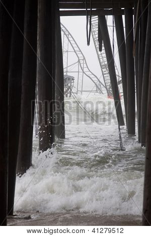 Seaside Heights, Nj - Jan 13: Waves Break Against The Submerged Casino Pier Star Jet Roller Coaster