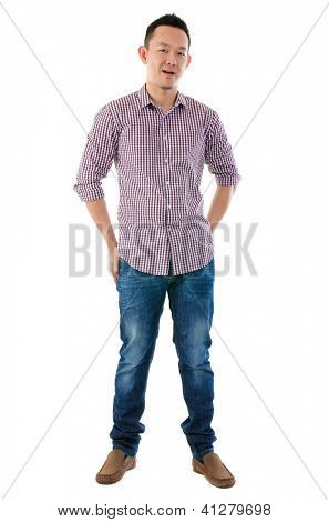 Front view full body Asian man standing  isolated on white background