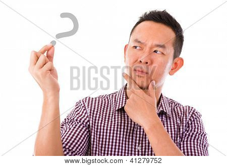 Asian man hand holding blank sign with unsure face expression, isolated over white background