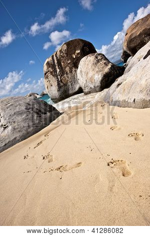 Footsteps on one of the most beautiful beach, Tortola