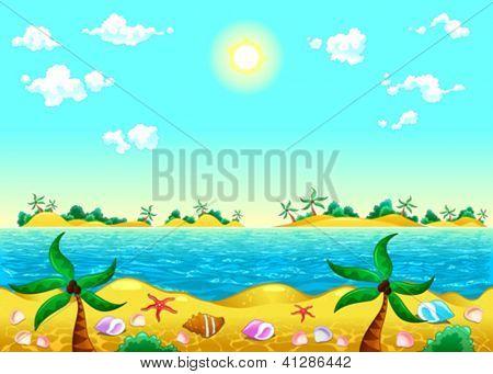 Küste und Meer. Vektor-Illustration. Die Seiten wiederholen Sie nahtlos für eine mögliche, kontinuierliche anim