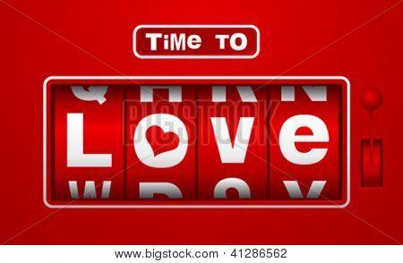 Tiempo de amar reloj analógico tirón en estilo vintage.