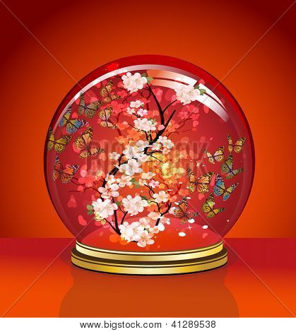 Crystal Ball with cherry blossoms and butterflies inside. valentine's day